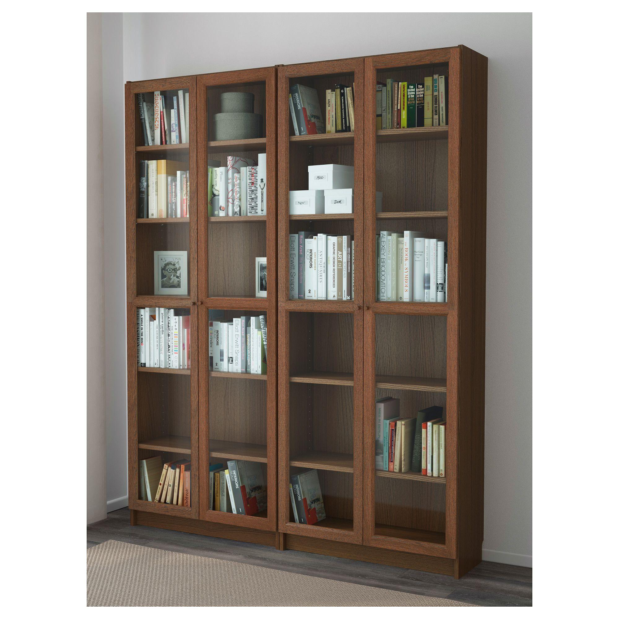 Ikea Billy Oxberg Brown Ash Veneer Glass Bookcase Ikea