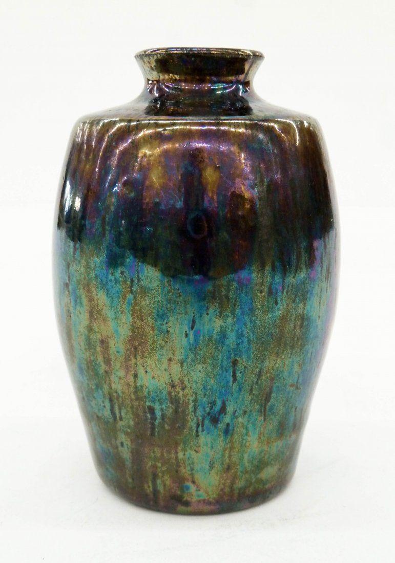 blue decorative vases.htm early pewabic metallic glaze pottery vase 4 25  x2 75  pewabic metallic glaze pottery vase