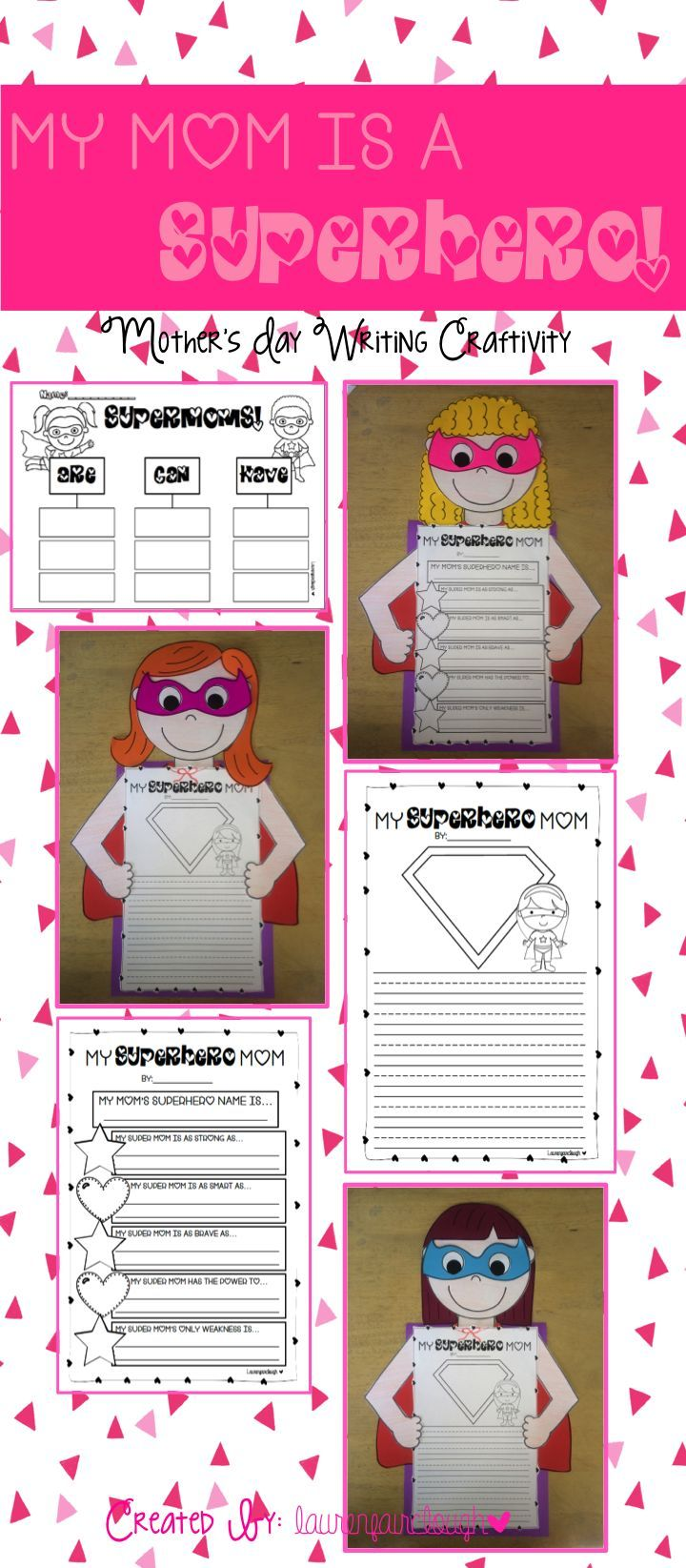 mother 39 s day writing and craft my mum is a superhero superhero craft and school. Black Bedroom Furniture Sets. Home Design Ideas