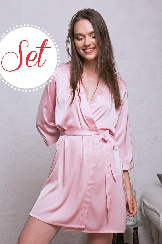 Pink Robes Blush Satin Bridesmaid Robes SET OF 3 4 5 7 10 a150a7cbe