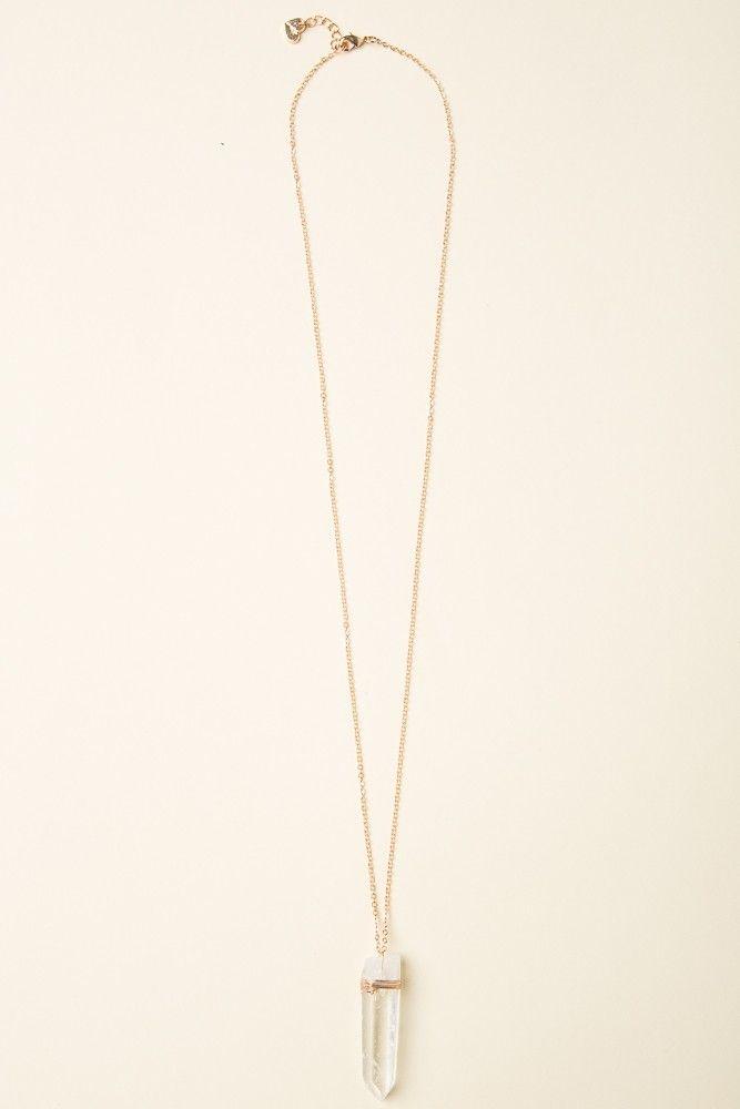 Brandy Melville   Clear Stone Quartz Gold Necklace  ♡