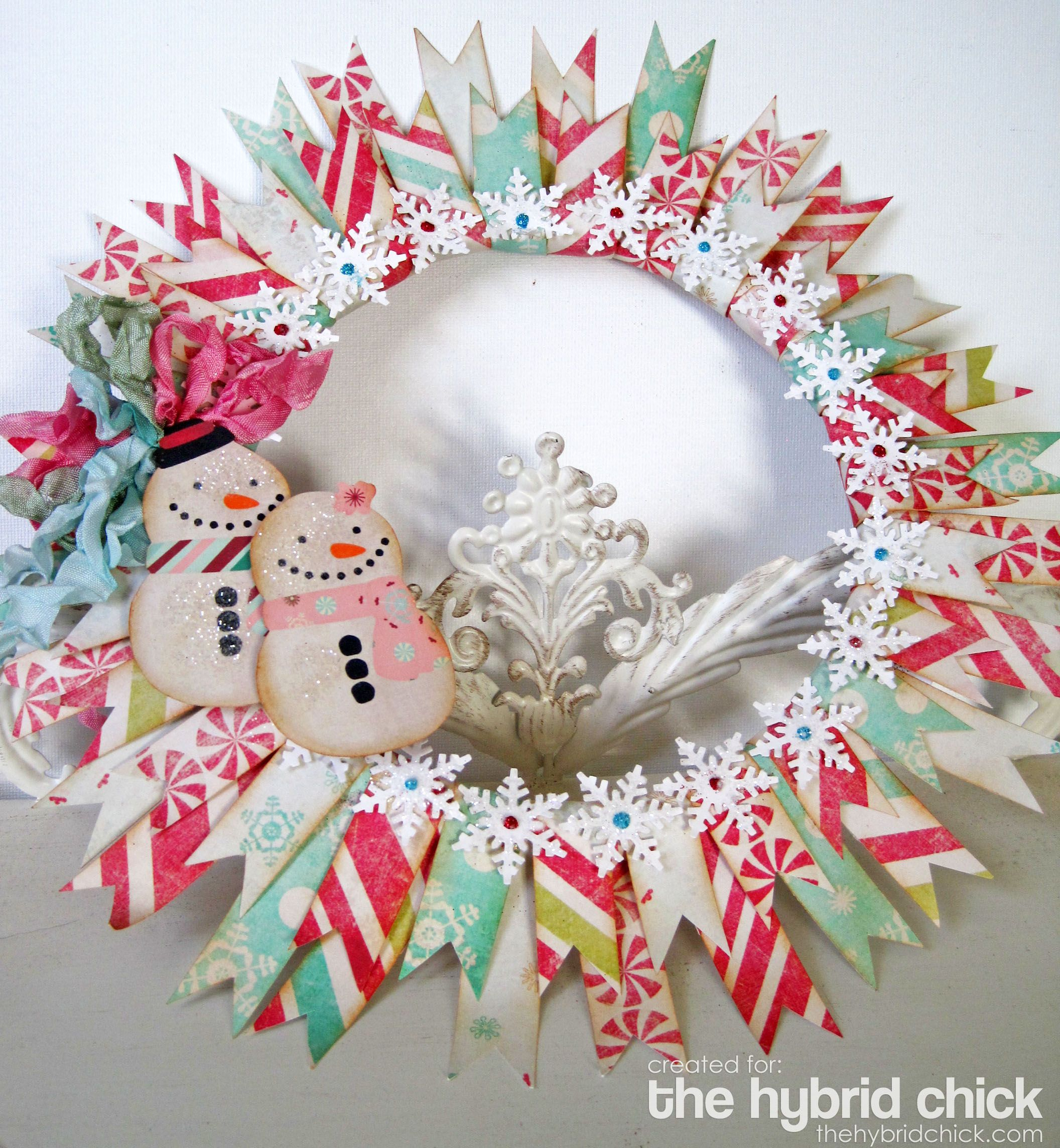Paper wreath •Ring (Wood, Embroidery Hoop..) – mine is approx. 7″ in diameter •Snowflake Punch •Ribbon • Glitter and Glue