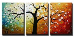 Art Hand Painted Modern Abstract Oil Painting on Canvas Wall Art Deco Home Decoration Tree of Life 3 Pic/set Stretched Ready to Hang by galleryworldwide $92.00