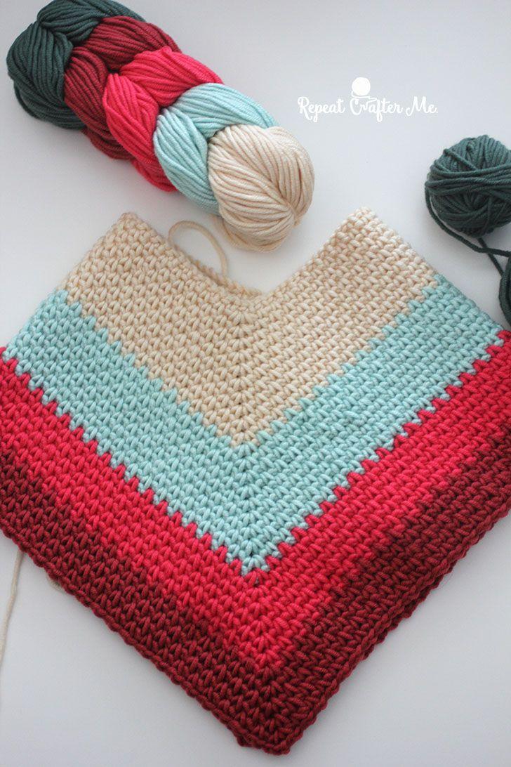 Crochet Kids Poncho with Caron X Pantone Yarn - Repeat Crafter Me