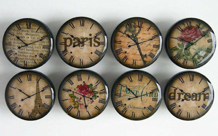 Boutons De Meubles Horloge Murale Design Paris Antique Bois