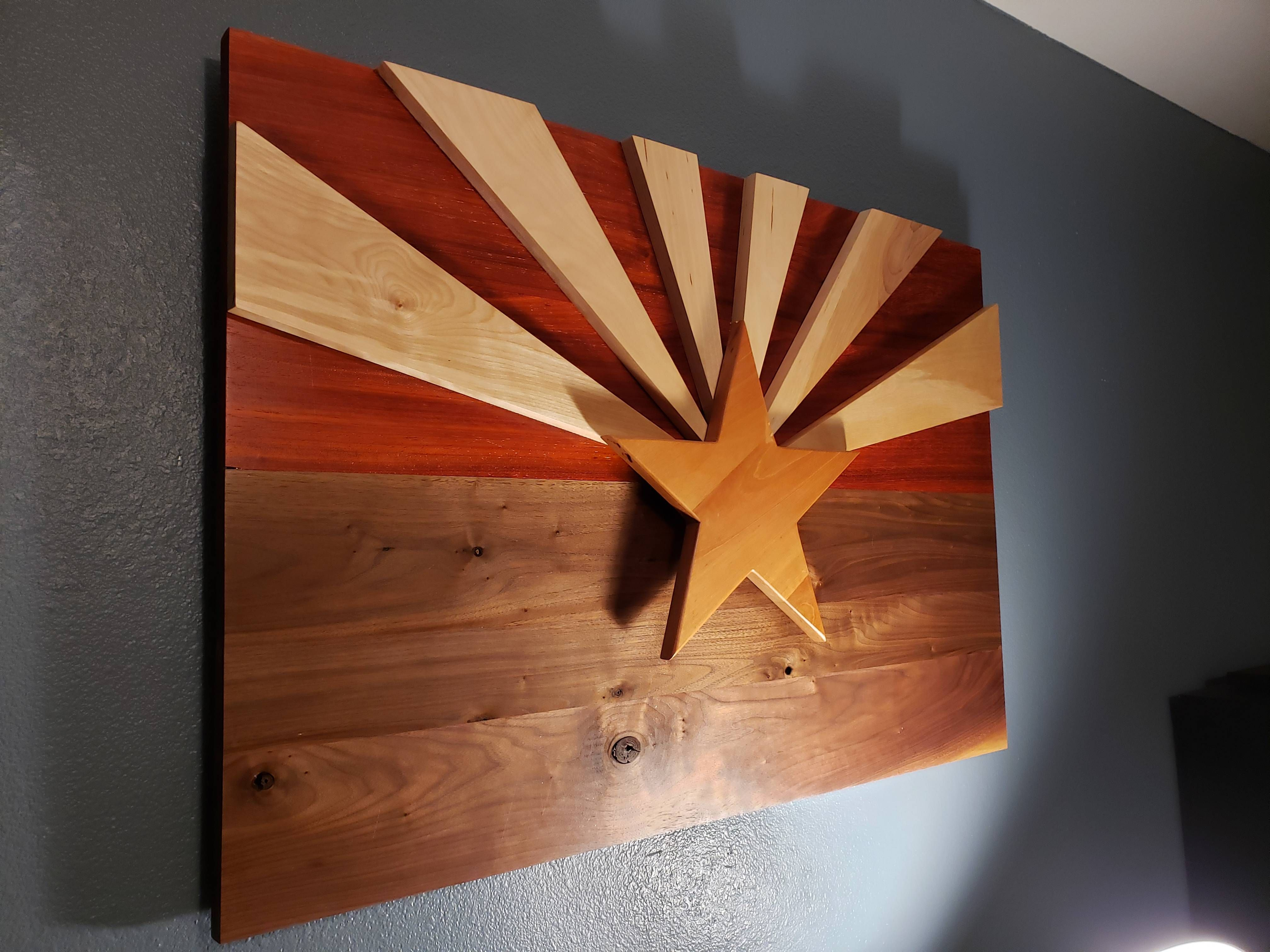 Arizona flag i made from wood natural colors arizona