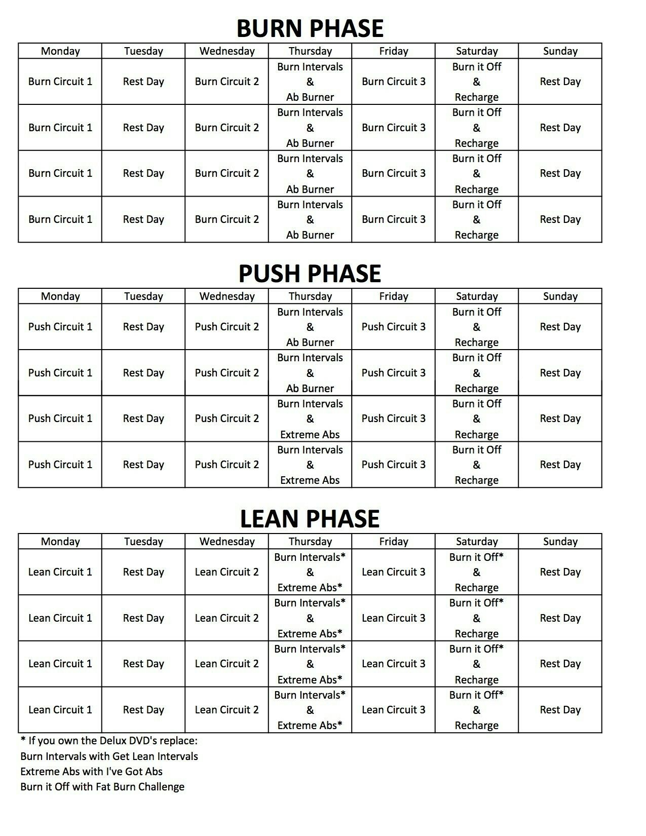 Chalean Extreme Workout Schedule