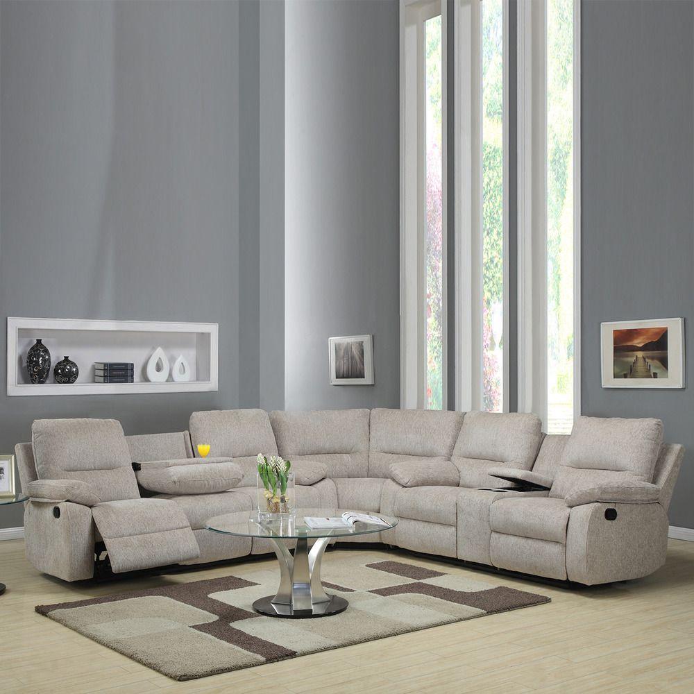 Corbridge Light Beige Chenille 6 Seater Recliner Sectional Sofa | Overstock. Com