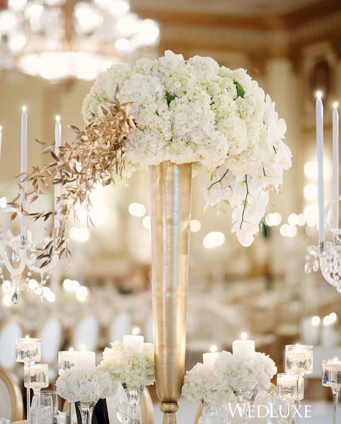 White and gold floral centrepiece   Floral Designs   Pinterest ...