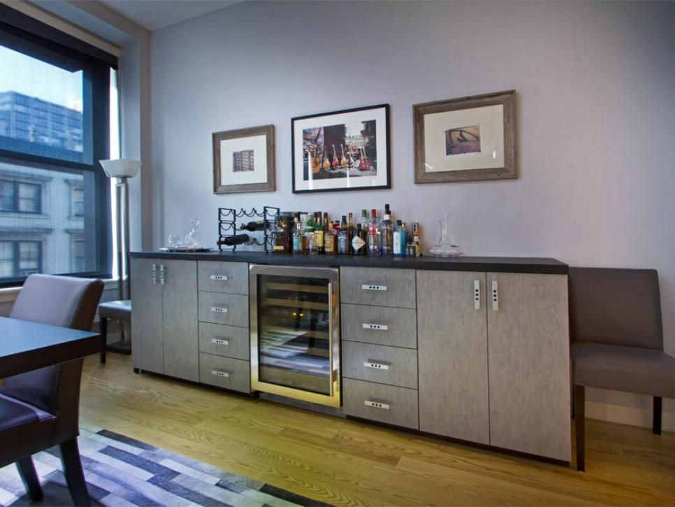 A Sideboard Turned Bar Provides Ample E For Wine Cellar And Countertop Drink Preparation