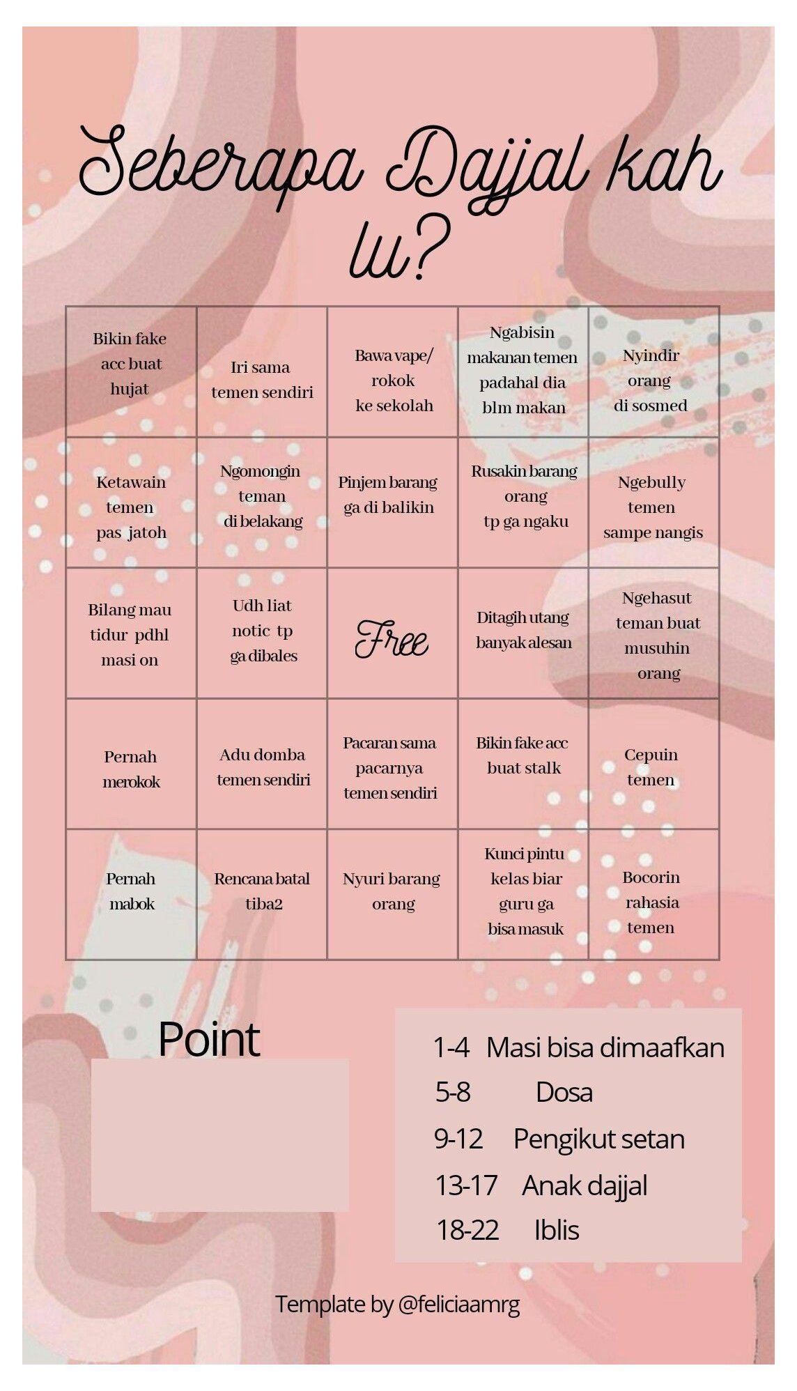 Template Bingo Indonesia Templates Instagram Stories Question Indonesia Sekolah In 2020 Reminder Quotes Bingo Template Instagram Story Questions