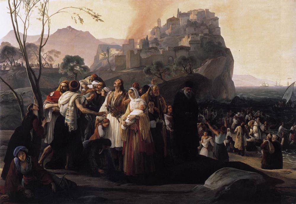 "Francesco Hayez: ""The Refugees of Parga"", Oil on canvas, 1831, 201 x 290 cm (79.13"" x 114.17""), Pinacoteca Civica (Cento, United State."