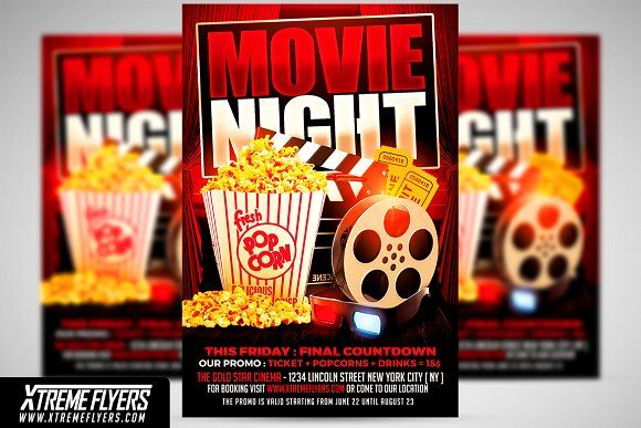 Movie Night Flyer Template by XtremeFlyers on @creativemarket - movie night flyer template