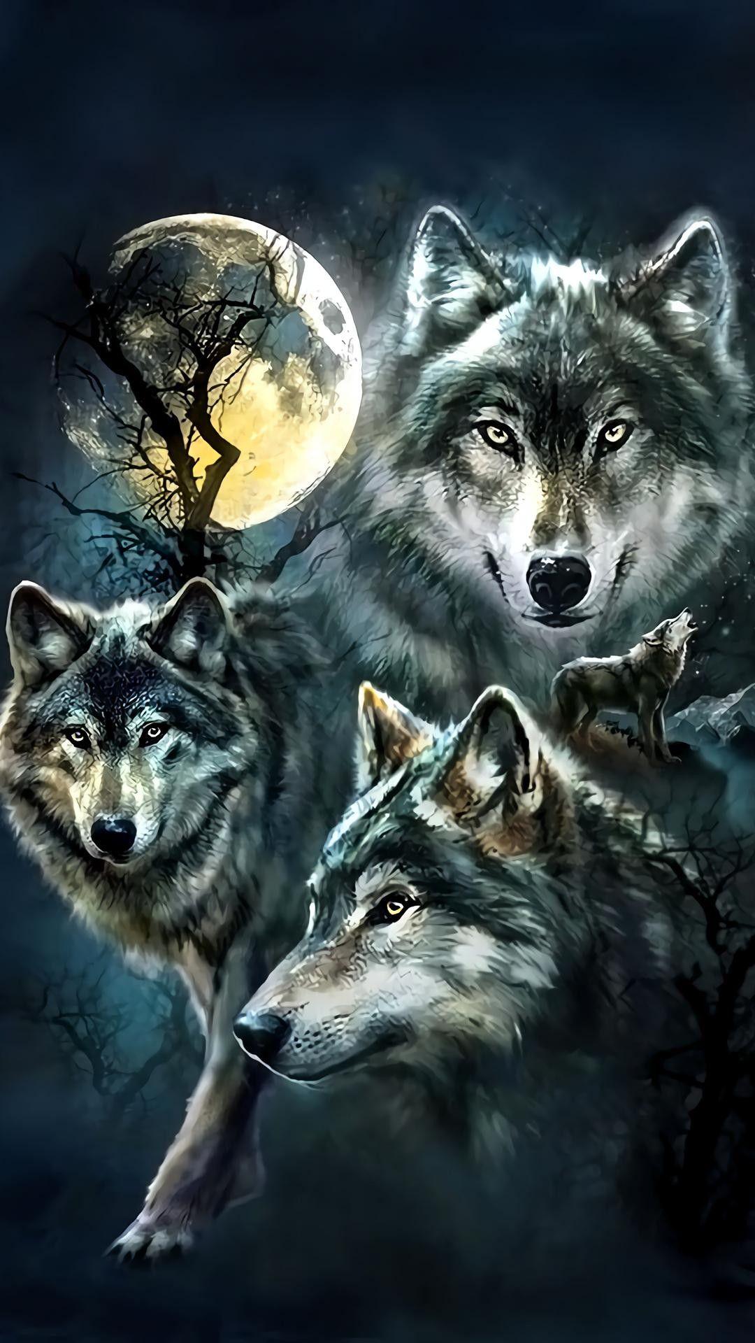Картинки на телефон волки