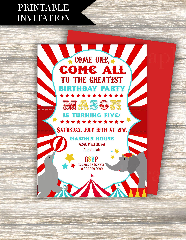 Circus Birthday Invitation Printable Circus Invitation Bright