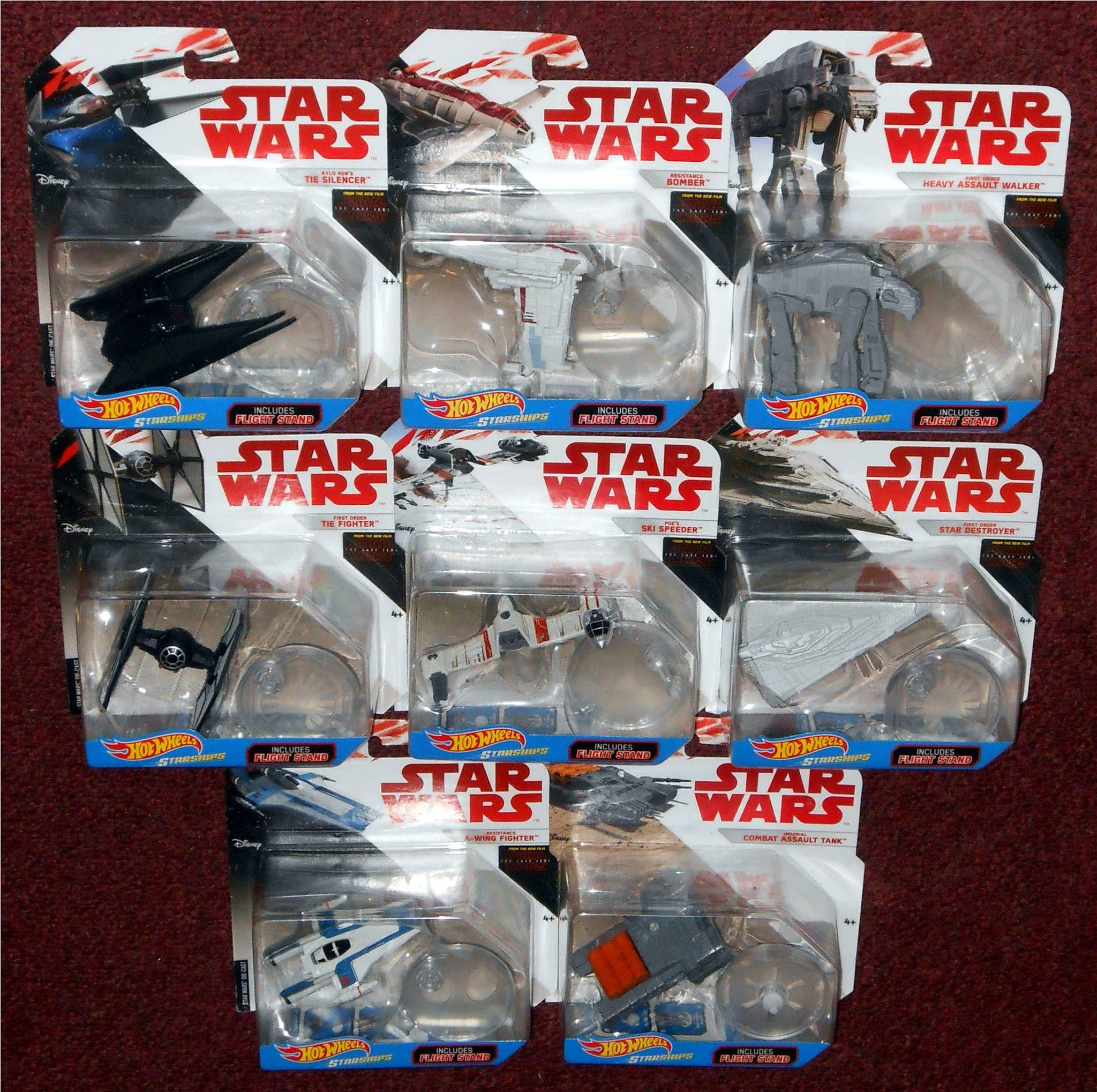 Disney Star Wars Starships Hot Wheels Kylo Ren/'s Tie Silencer With Flight Stand