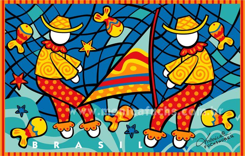 Pescaria Nordeste Do Brasil Arte Colorida Ilustracao Arte