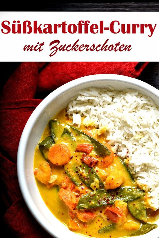 Süßkartoffel-Curry. Mit Zuckerschoten. #vegetariandish