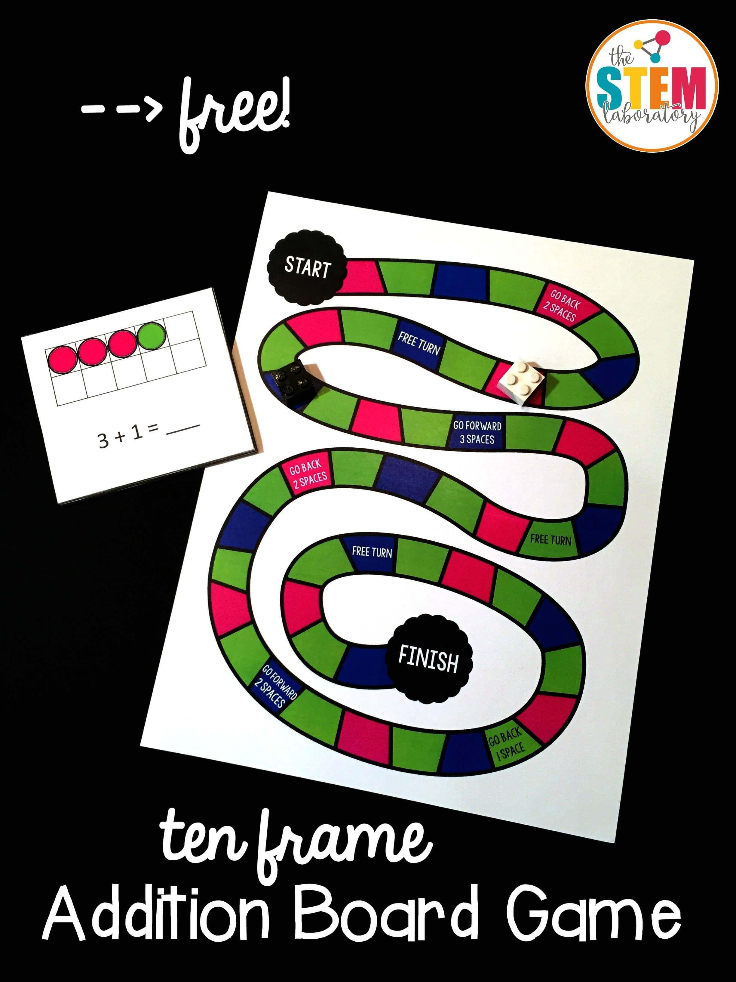 Ten Frame Addition Board Game The Stem Laboratory Math Board Games Kindergarten Math Games Fun Math Addition and subtraction board game ks1