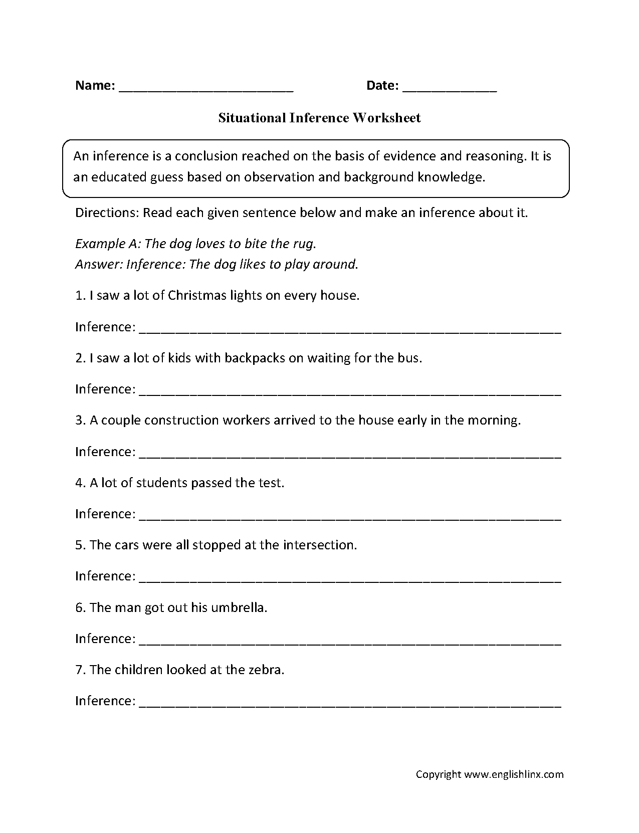 Situational Inference Worksheets   Reading comprehension worksheets [ 1662 x 1275 Pixel ]