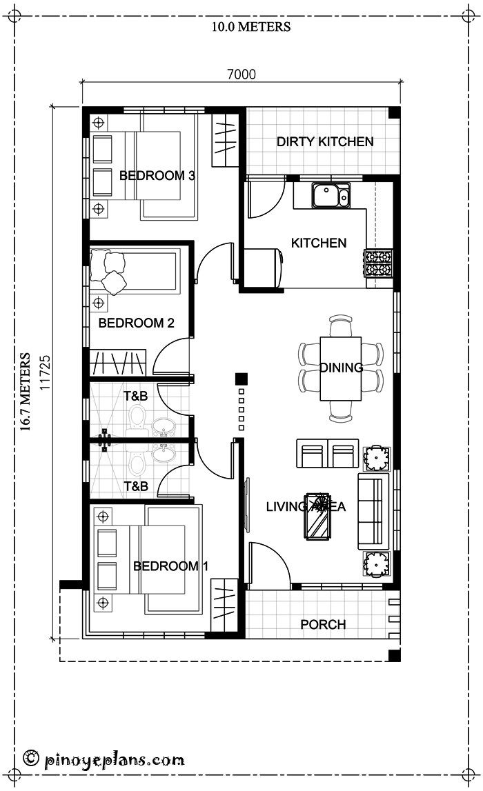 Small bungalow house design and floor plan with 3 bedrooms for Small modern house plans two floors