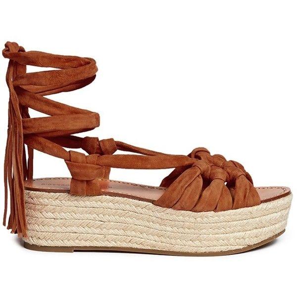 518a86dbb07 Sigerson Morrison 'Cosie' suede lace-up espadrille platform sandals ...