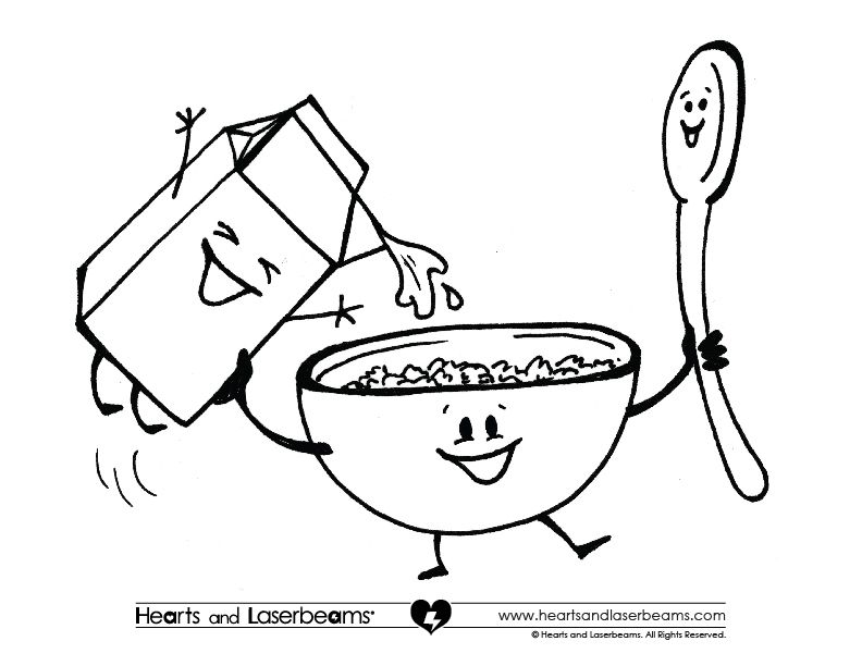 Ad Free Coloring Pages Breakfast Cereal Milk And Spoon