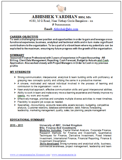 Sample Template Of An Excellent Work Experienced Resume Sample With
