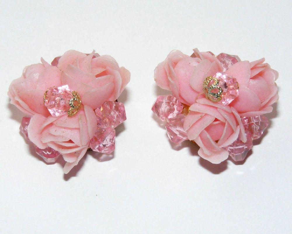 Vintage Gold Tone & Pink Rose Flower & Faceted Bead Earrings West Germany B44