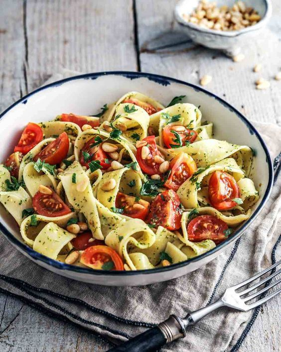 Photo of Summer tagliatelle with parsley pesto