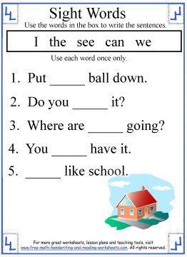 Image result for kindergarten sight word sentences worksheets | Free ...