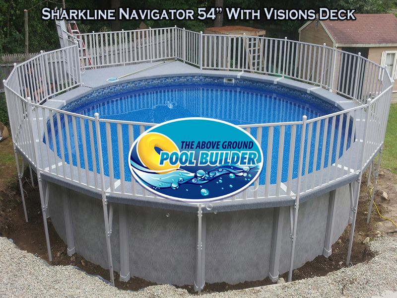 Sharkline Navigator With Visions Carpeted Walk Deck And 6x9 Deck Installed June 2013 Above Ground Pool Fence Above Ground Pool Pool Fence