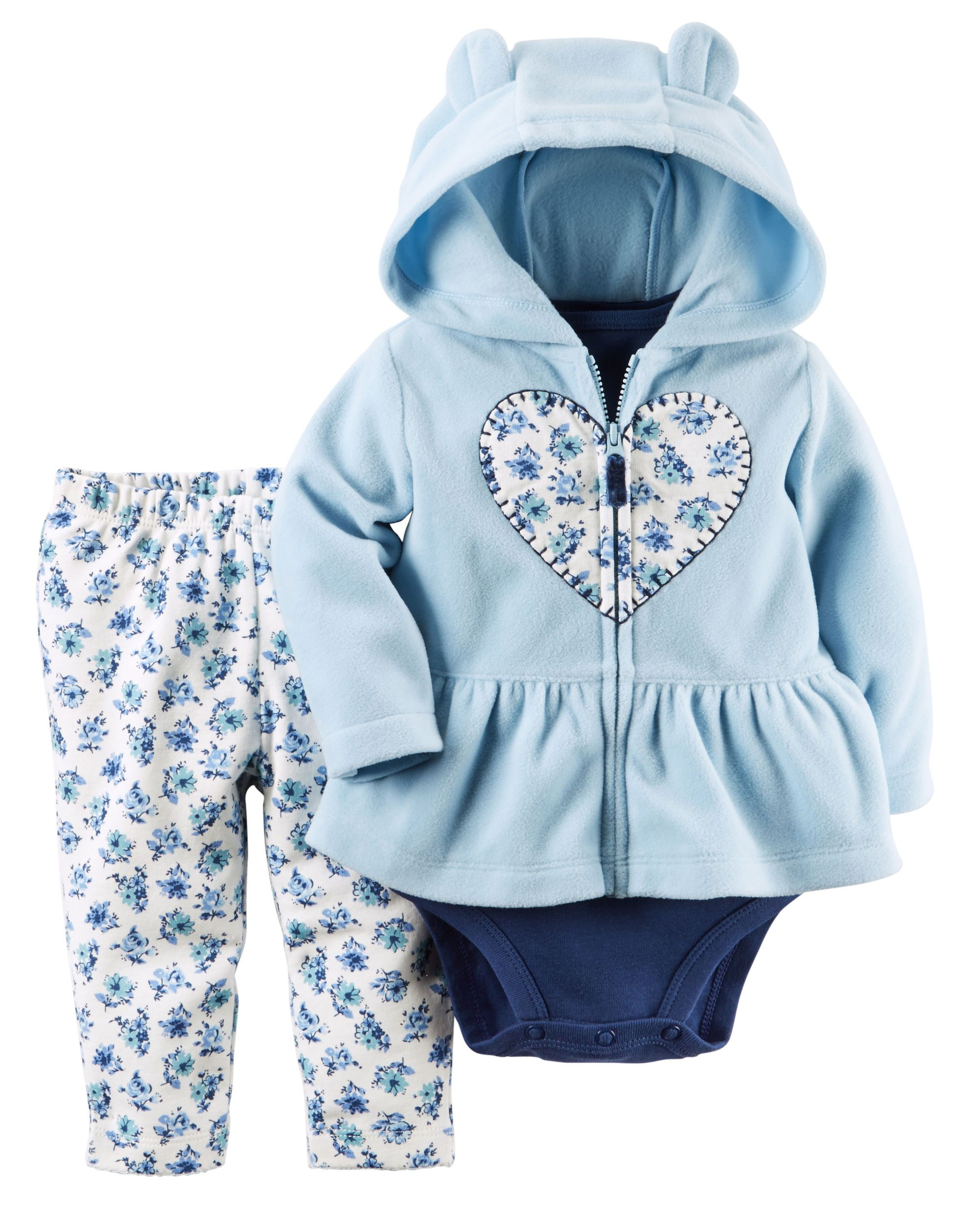 8d766c9c4ce7 Baby Girl 3-Piece Fleece Cardigan Set