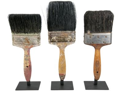 vintage paint brushes, stand, vintage display, brushes on stands, vintage tools