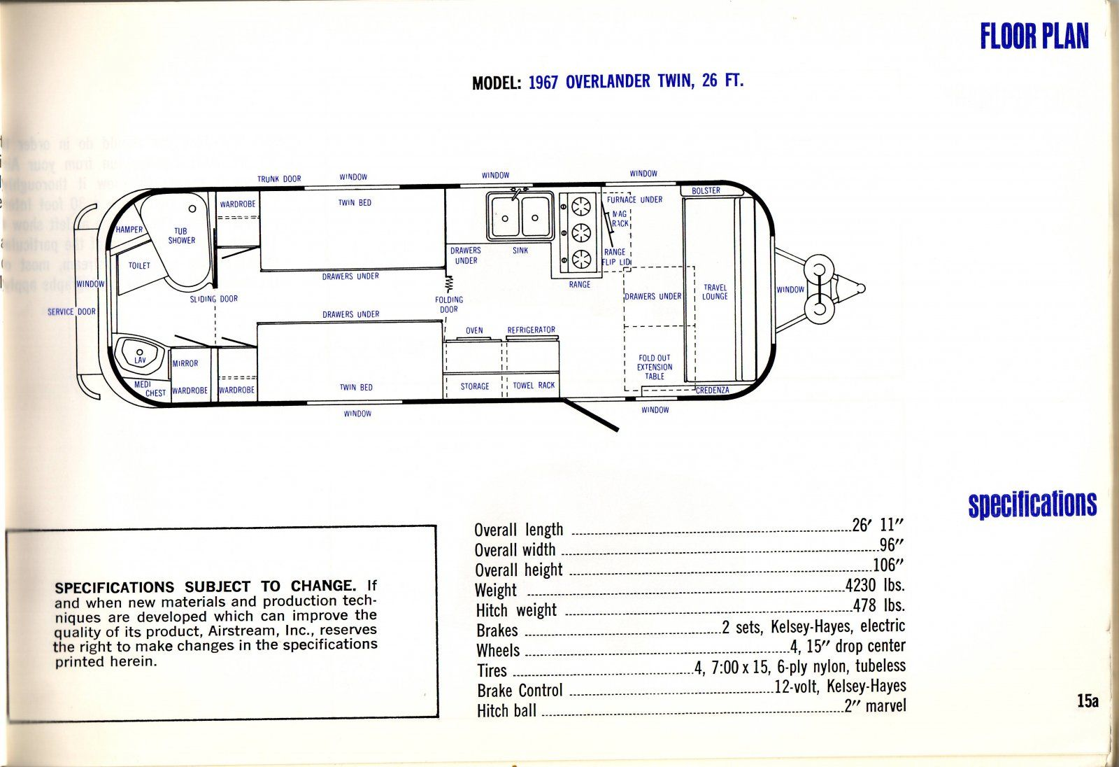 Image result for 1967 airstream overlander layout ... on
