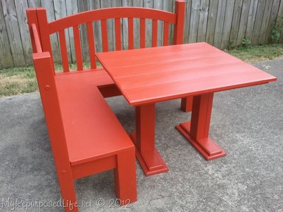 DIY kids red bench & table(forget the kids,I\'d like one like this in ...