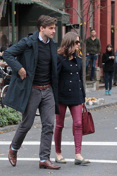 Magenta Jeans, Navy Coat, Grey Flats, Maroon Handbag