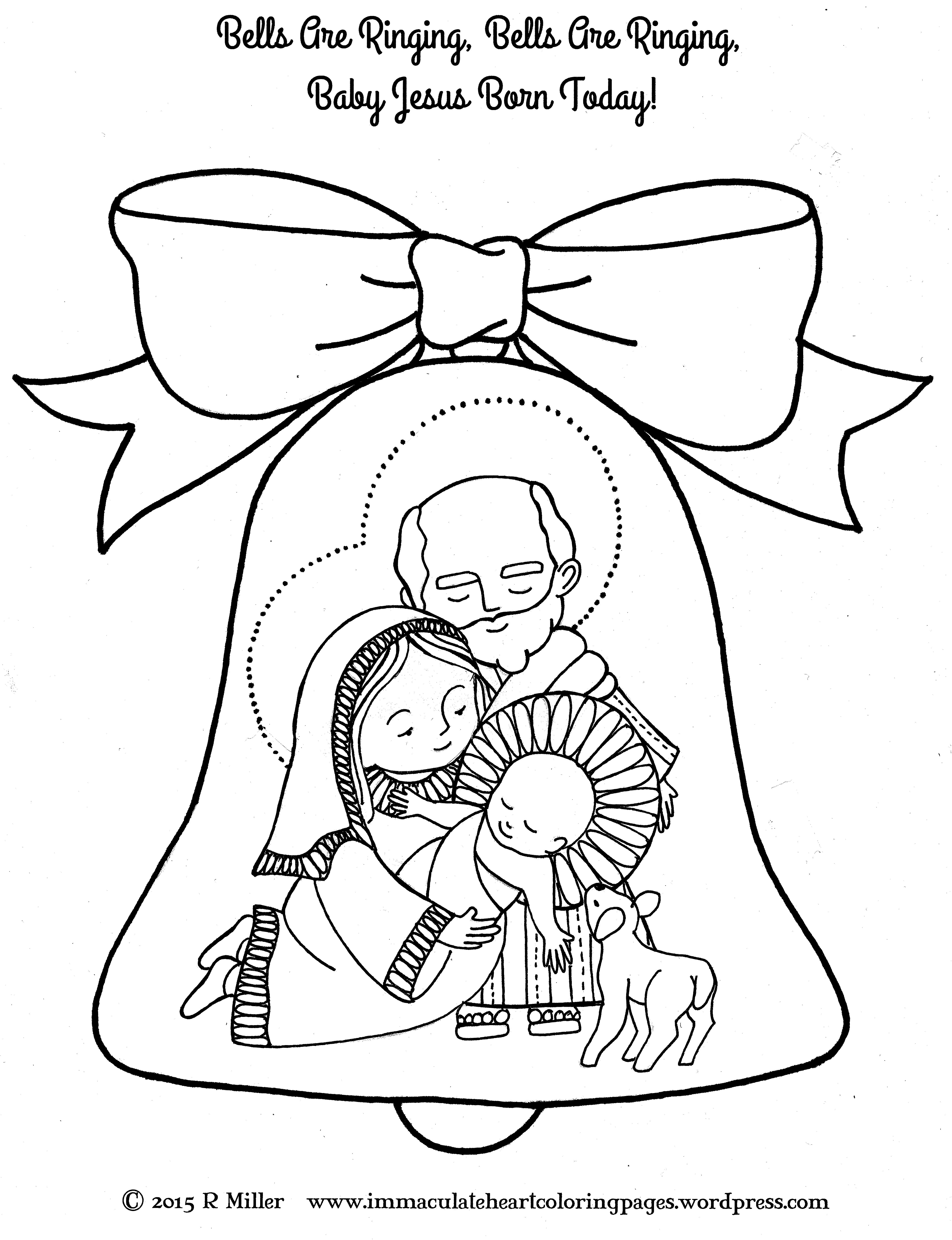 Bells Are Ringing Nativity Christmas Coloring Page from the song ...
