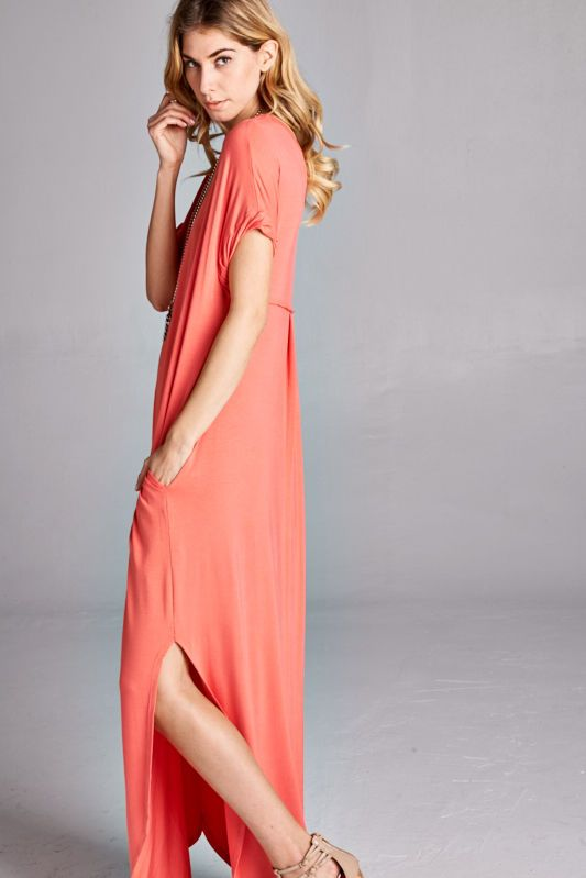 CORAL . DRESS . OPEN SIDES - product image