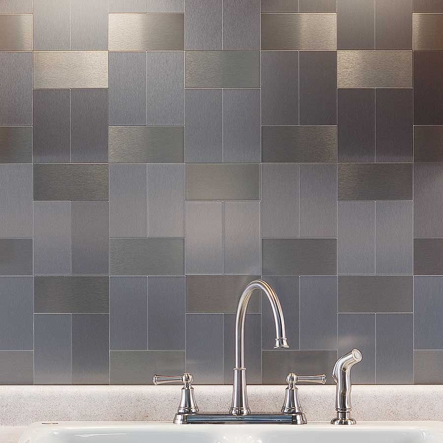 Stainless Steel Subway Tile Backsplash Tile Designs Stainless