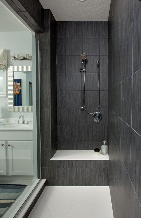 Dark gray large shower tiles walk in shower ideas glass for Bathroom ideas grey tiles