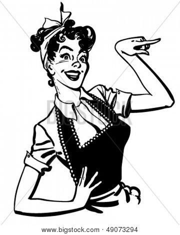 1950s housewife drawing pointing housewife retro clip art rh pinterest com