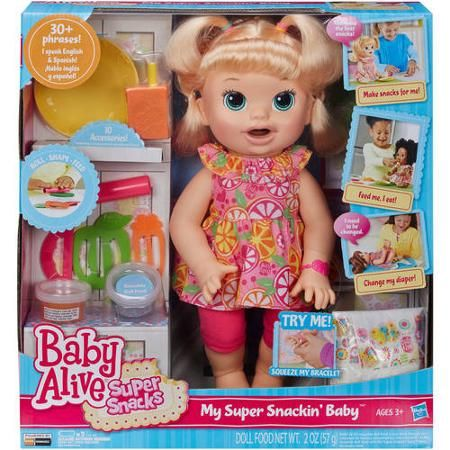 Baby Alive Super Snacks Snackin Sara Blonde Walmart Com Baby Alive Doll Clothes Baby Dolls For Kids Baby Alive Food