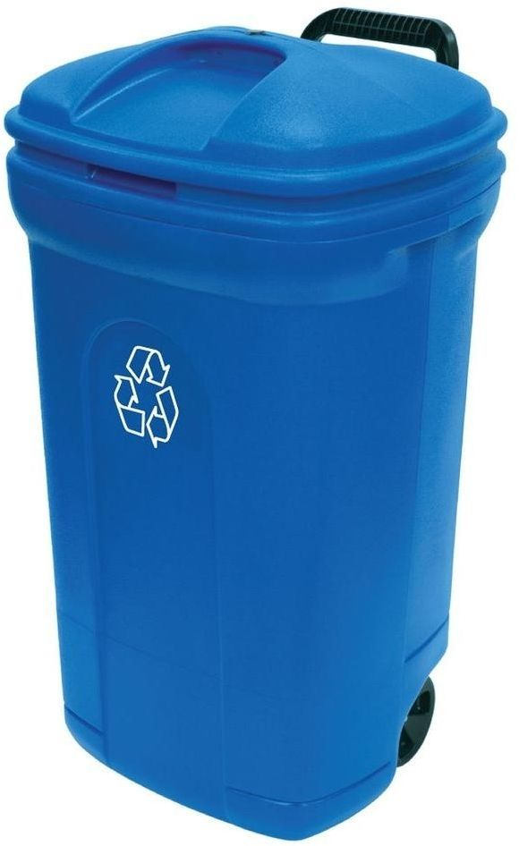 Home Depot Recycling Bins Outdoor Wheeled Rolling Recycling Blue Trash Garbage Can Waste Bin