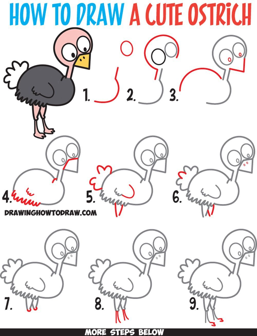 How to draw a cute cartoon ostrich easy step by step