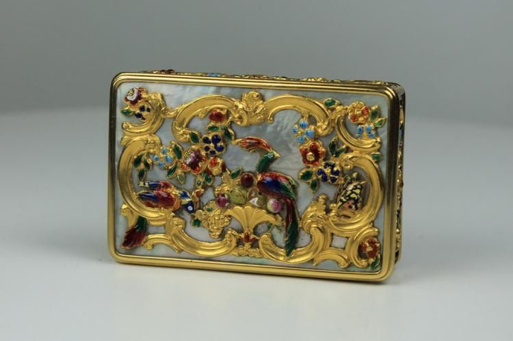 A gold, enamel and mother-of-pearl snuff box