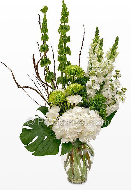Rich Green White Mixed Flower Arrangement Fresh Flowers Arrangements Church Flower Arrangements White Flower Arrangements
