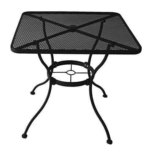 Garden Treasures Heavy Duty Steel Frame With Black Powder Coated Finish Square Bistro Restaurant Patio Outdoor Dining Table With Umbrella Hole 30 In X 30 In