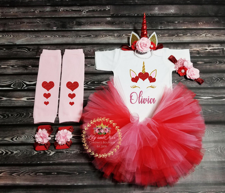 Heart Unicorn Valentine outfit /'Anita/' unicorn valentine outfit baby girl valentines outfit toddler girl valentines day outfit valentine set