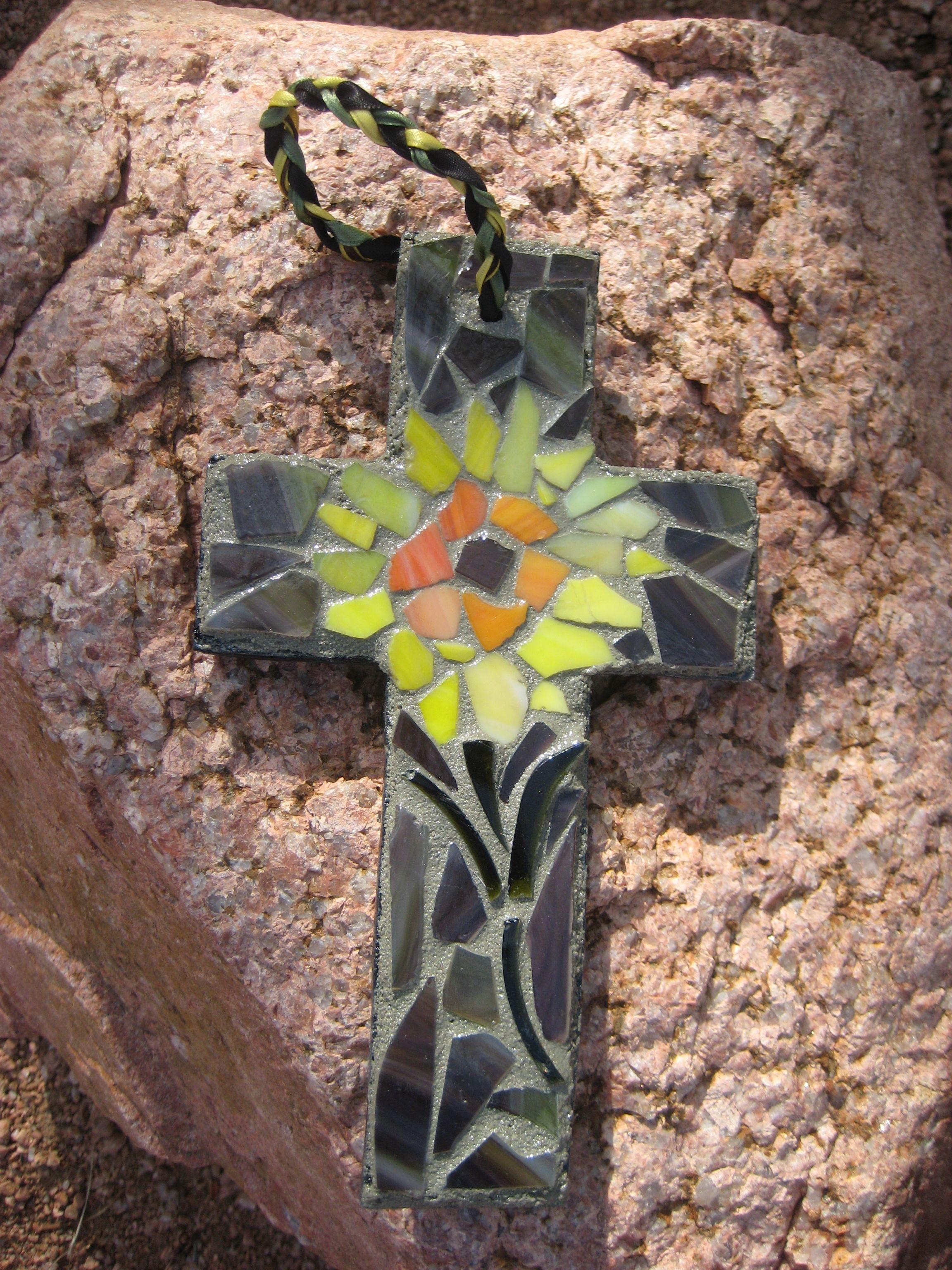 Camo And Sunflower Mosaic Cross